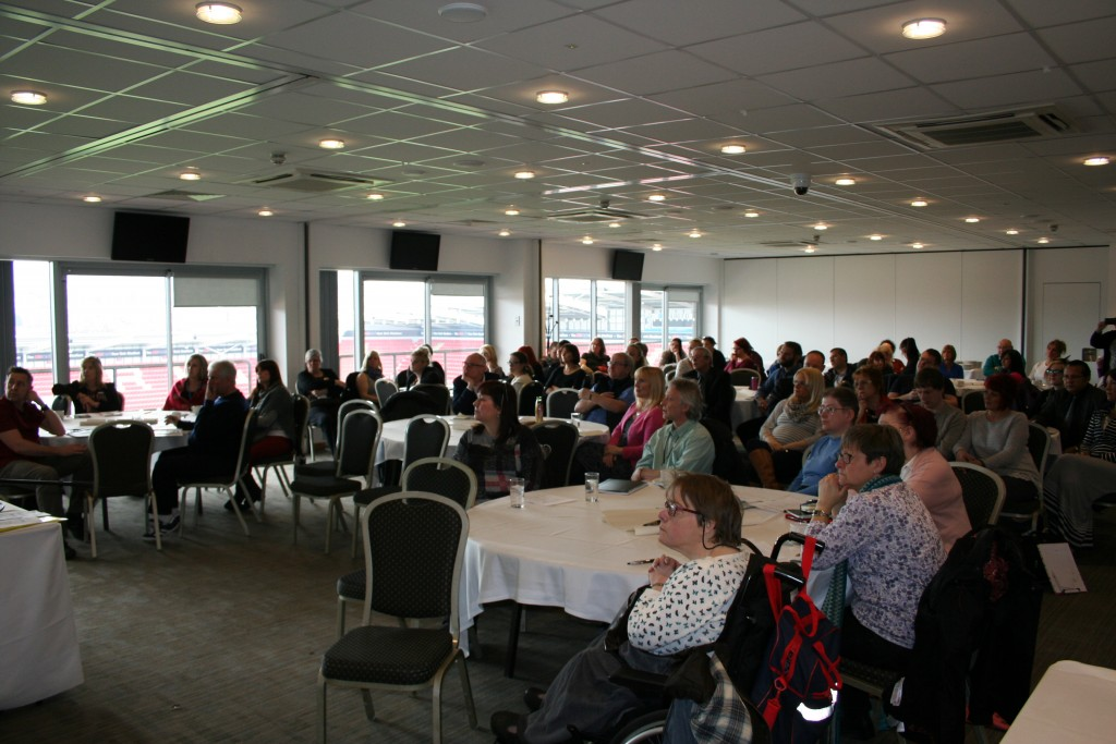 "An image of the 70+ people present at the launch of the Let's Talk About Restraints"" online training toolkit, which took place at Rotherham Football Stadium in March 2016."